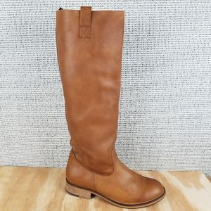 ALDO Brown Leather Tall Knee Boots Pull-on